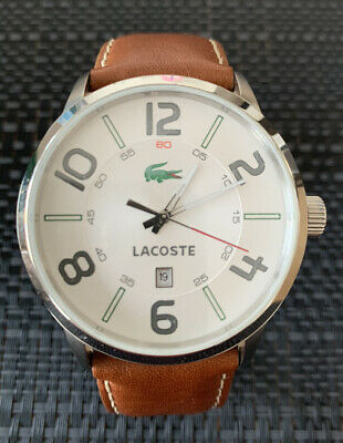 AU79.99 • Buy Lacoste Barcelona Mens Watch 42mm White Face Tan Leather