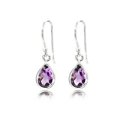 Pear-shaped Amethyst Drop Earrings In 925 Sterling Silver. • 20£