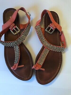 Peach And Brown Sandals Size 5 • 4£