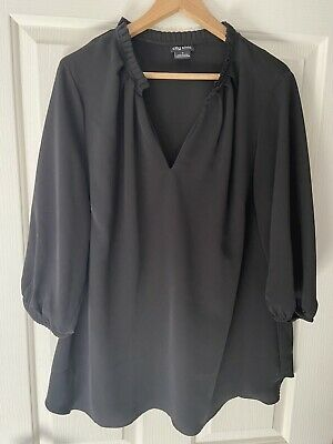 AU35 • Buy City Chic Black 3/4 Sleeve Blouse Shirt Top Size S 16-18 NEW!