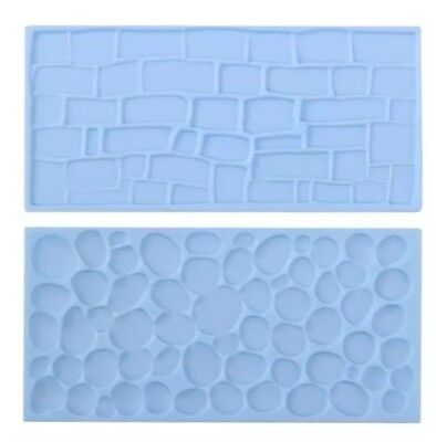 2x COBBLE STONE WALL MOULD-ICING IMPRESSION MAT-CHOCOLATE MOLD-CAKE/CASTLE COBLE • 5£