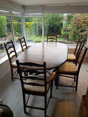 Ercol Woburn D End Golden Dawn Oval Extending Kitchen Dining Table With 6 Chairs • 650£