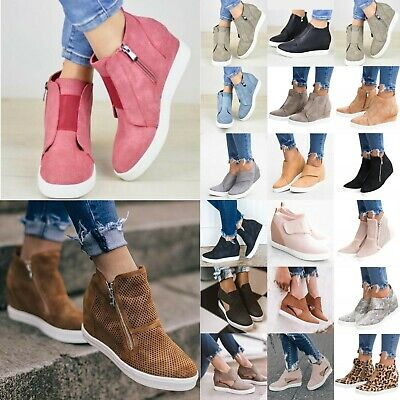 Womens Wedge Hidden Low Heel Sneakers Ankle Boots Trainers Zipper Shoes Size UK • 13.77£