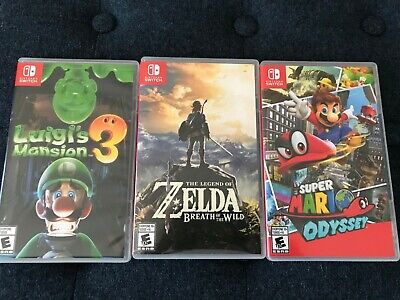 $129.99 • Buy Nintendo Switch Game Lot Of 3 Mario Odyssey, Zelda,Luigis Mansion