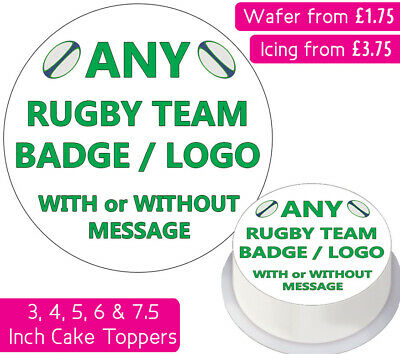 £3.75 • Buy Any Rugby Team Club Logo Edible Wafer & Icing Personalised Cake Toppers Badges