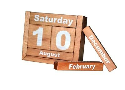Vintage Wooden Perpetual Block Calendar  For Home & Office Free Shipping • 15£