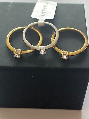 0.40CT WHITE TOPAZ TWO TONE SET OF 3 STERLING SILVER STACKER RINGS - Size L • 23.50£