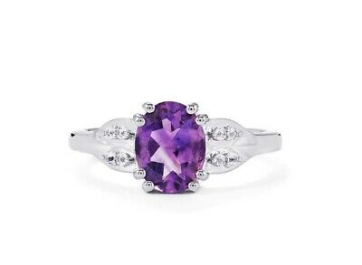 MOROCCAN AMETHYST & WHITE TOPAZ STERLING SILVER RING - Size L • 28.99£