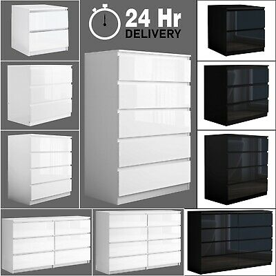 £159.99 • Buy High Gloss Chest Of Drawers Bedside Cabinet Tall Wide Storage Bedroom Furniture