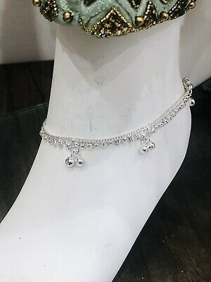 £9.99 • Buy SIlver Simple Ankle Chain Anklet Payal Indian Bollywood Anklets Pair