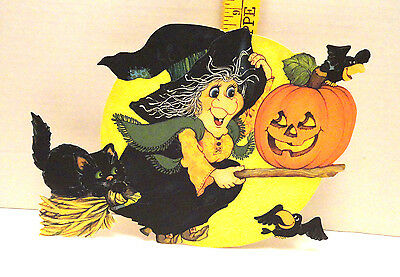 $ CDN25.42 • Buy Vintage Yacoba Halloween Die Cut Witch On Broom Htf