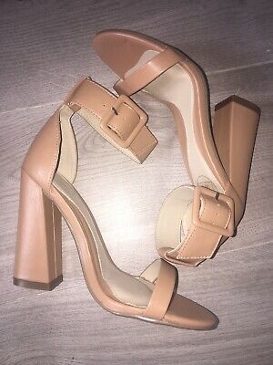 Never Worn - Size 3 Nude / Beige Shoes Missguided Block High Heels Faux Leather • 5£