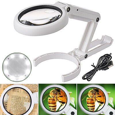 8 LED Lights Desk Lamp Magnifying Magnifier Glass With Light Stand Clamp Reading • 8.45£
