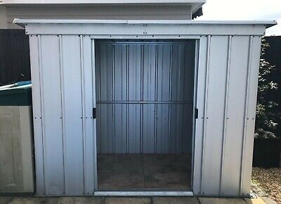 Yardmaster 8 X 4' Pent Roofed Metal Shed With Floor Frame - Silver • 30£
