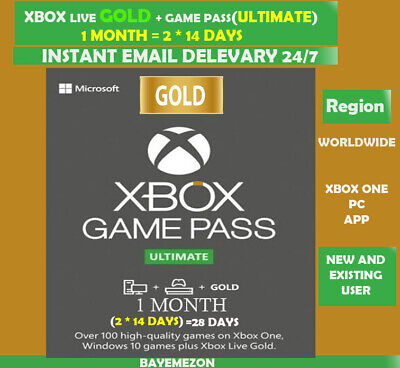$ CDN5.04 • Buy Xbox Live Gold + Game Pass (Ultimate) 1 Month (2x 14 Days) Code Instant Delivery