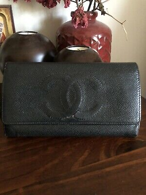 AU240 • Buy CHANEL Authentic Caviar Leather Trifold Wallet Vintage