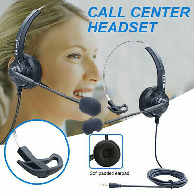 3.5mm Computer Headset Wired Over Ear Headphones For Call Center PC Laptop Skype • 7.99£