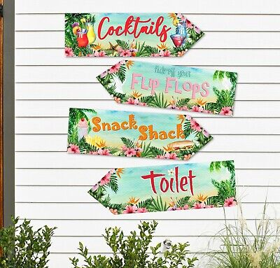 4 Tropical Hawaii Flamingo Aloha Luau Party Decoration Signs Arrows (Set B) • 4.20£