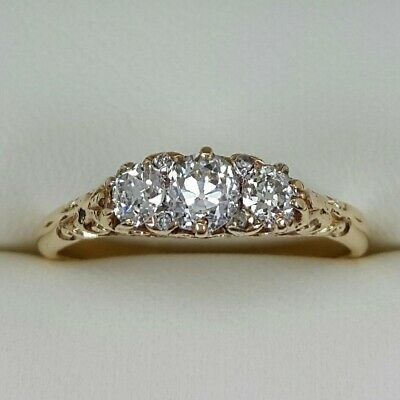 Old Cut Diamond 3 Stone Ring In 18ct Yellow Gold Finger Size M 1/2 0.50ct • 550£