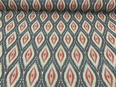 Persian Ikat Grey/Coral Red  Linen 140cm Wide Curtain/Upholstery Fabric  • 24.50£