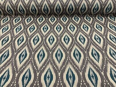 Persian Ikat Grey/TEAL Blue  Linen 140cm Wide Curtain/Upholstery Fabric  • 24.50£