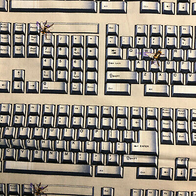 $16.49 • Buy FAT QUARTER Key Board Computer FABRIC QUILT COTTON FQ Great For Masks