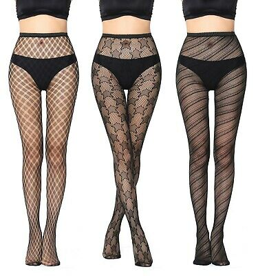 Womens Black Fishnet Net Patterned Fashion Tights Ladies Pattern Floral Lace UK • 3.10£