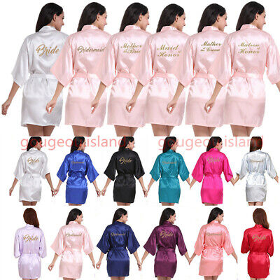 £9.93 • Buy UK Silk Satin Personalized Wedding Bridesmaid Robe Bride Mother Dressing Gown