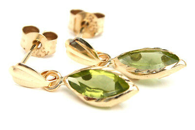 9ct Gold Peridot Drop Earrings Short Marquise Gift Boxed Made In UK • 33.99£