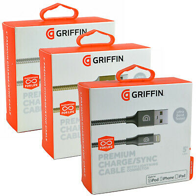 AU18.12 • Buy Genuine Griffin Lightning USB Braided IPhone/iPod/iPad Data Sync Charger Cable