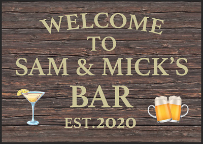 Personalised Bar Sign Home Pub Shed Garage Me Metal Sign Plaque Alcohol Garden • 4.99£