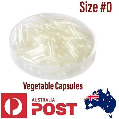 AU12.85 • Buy 200x Size # 0😀 Empty Veggie Caps Vegetable Capsules Vegetarian Vegan Pill Clear
