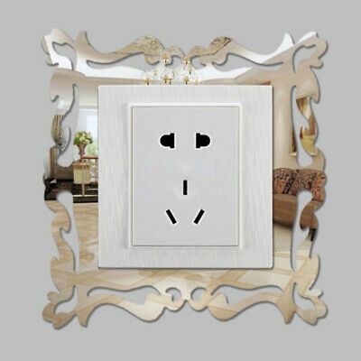 4X Silver Mirror Flower Light Switch Surround Wall Sticker Cover Frame Decor P • 3.99£