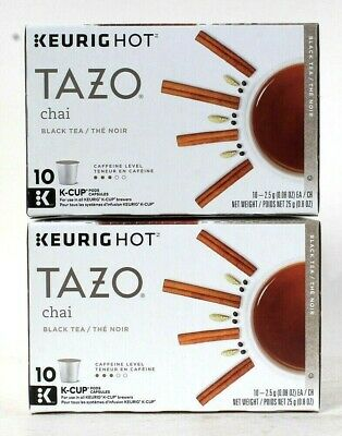 2 Boxes Keurig Hot Tazo Chai Black Tea 10 Count K Cup Pods Capsules BB 8/21/20 • 18.88£