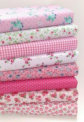 AU8.46 • Buy Pink Floral Poly Cotton Fabric Bundle Fat Quarters Or Squares  Sewing Material