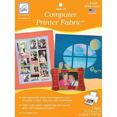 $9.52 • Buy  Sew-In Computer Printer Fabric Sheets 8.5 X11  4/Pkg White 730976090100