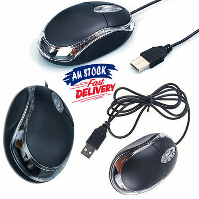 AU10.95 • Buy Mouse For PC Laptop Computer  Wheel-Black USB  Optical Wired  Scroll