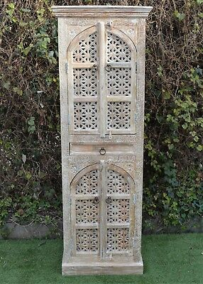 AU980 • Buy Antique Shabby Chic Timber Hand Carved Mehrab Tall Cabinet Cupboard Storage Boho