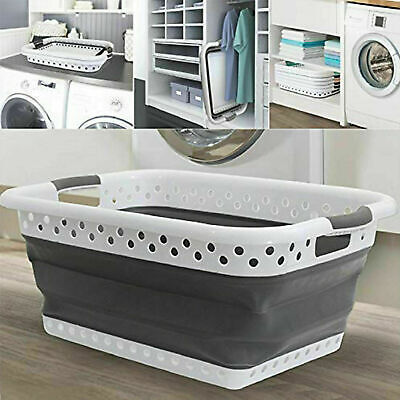 Space Saving Large Folding Collapsible Laundry Basket Cloth Washing Pop Up Bin S • 13.99£