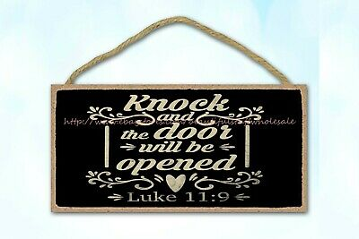 Knock And The Door Will Be Opened Christian Bible Verse Wood Sign Wooden Plaque • 10.85£