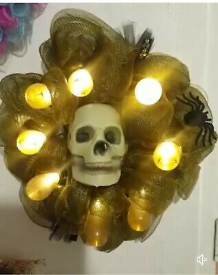 £25 • Buy Halloween Skeleton Wreath. With Lights And Sounds. Hand Made. One Off. Limited.