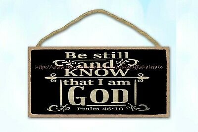 Vintage Style Plaques Be Still And Know That I Am God Bible Verse Wood Sign • 10.85£