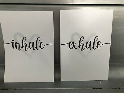 Home Wall Art Set Of 2 Typography Prints - Inhale Exhale - Home Gifts A4 • 4.99£