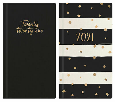 2021 Week To View Diary Hardback Padded Yearly Student Striped Teacher Planner • 2.49£