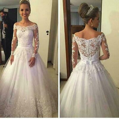 $ CDN169.38 • Buy Off Shoulder Wedding Dresses Long Sleeves Country Bridal Gown White Ivory Custom
