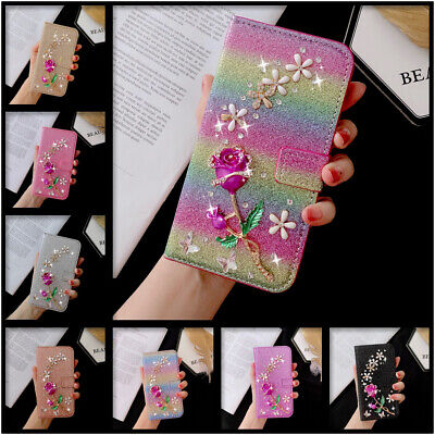 Bling Glitter Case For Huawei Y 6 7 9 2019 Honor 10 20 Lite 3D Rose Phone Cover • 6.89£