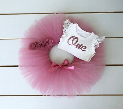 AU45 • Buy Dusty Pink Cake Smash Outfit - 3 Piece First Birthday Tutu Set - Baby Girl