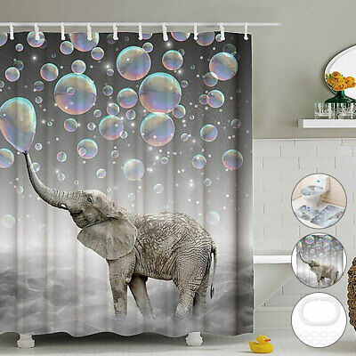 Bathroom Shower Curtain Toilet Cover Mat 3D Printing Elephant Bubbles Waterproof • 11.29£