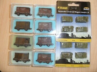 8 N GAUGE Peco Conflat With 8 Containers And 8 Farish Tarpaulin Loads Weathered • 74.99£