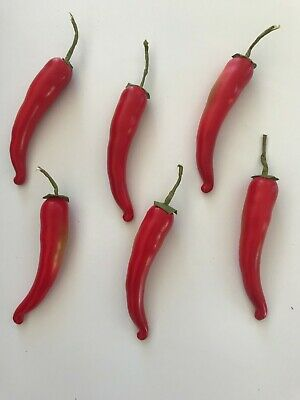 Pack Of 6 Artificial Red Chillies 14 Cm - Chili Pepper Decorations Chilli • 6.99£